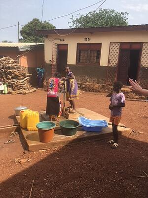 The kids at an orphanage in Bangui, Central African Republic pumping water for drinking and food preparation
